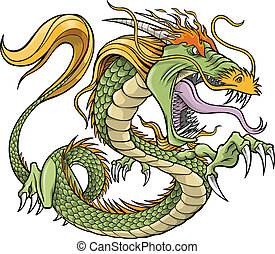 vecteur, vert, illustration, dragon