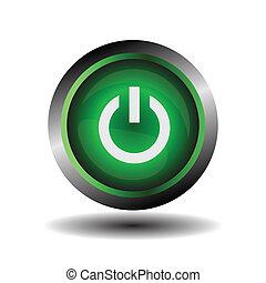 vecteur, vert, lustré, puissance, icône