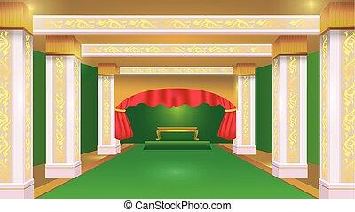 vecteur, vert, luxe, fond, stateroom, conception