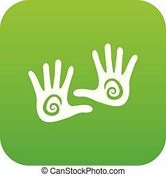 vecteur, vert, main, icône