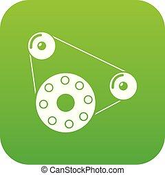 vecteur, vert, moteur, icône