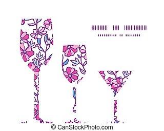 vecteur, vibrant, champ, fleurs, trois, lunettes vin, silhouettes, modèle, cadre