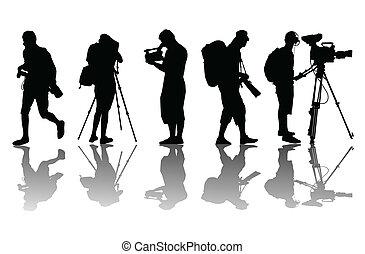 vecteur, vidéo, fond, opérateur, caméscope, cameramans