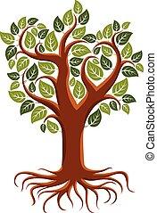 vecteur, vie, écologie, art, image, arbre, symbolique, theme., branchy, conservation, illustration, roots., fort