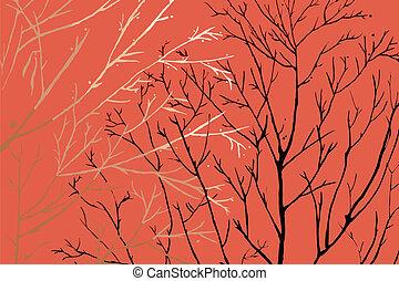 vecteur, vie, mort, arbre, &