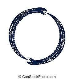 vecteur, vie, propre, emblème, symbole, ou, illustration, uroboros, conte, interminable, forme, ancien, serpent, mort, manger, ouroboros, cycle, tattoo., sien, logo, cercle