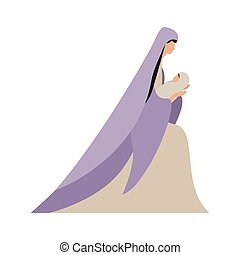 vecteur, vierge, bébé jésus, conception, marie