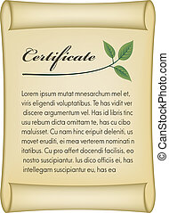 vecteur, vieux, bio, certificat