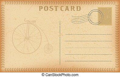vecteur, vieux, card., carte postale, vendange, cadre, bicycle., papier, retro, grunge, poste