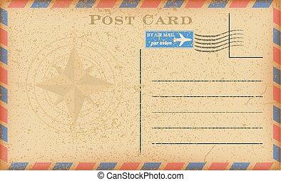 vecteur, vieux, card., carte postale, vendange, courrier, air, papier, compas, grunge, poste