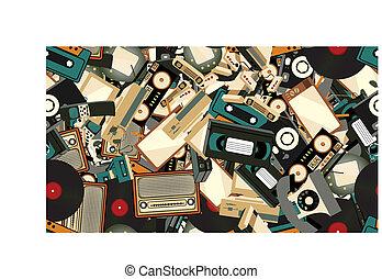 vecteur, vieux, console, vidéo, texture, tv, modèle, seamless, joueur, arrière-plan., enregistreur, hipster, retro, computer., bande, téléphones, illustration, jeu, mobile, électronique, appareil photo, audio