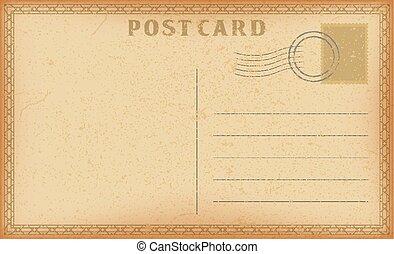vecteur, vieux, frame., carte postale, vendange, papier, grunge, géométrique, poste, card.