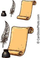vecteur, vieux, icônes, stylo, papier, encre, plume, rouleau