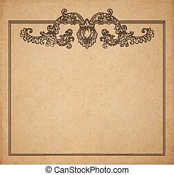 vecteur, vieux, moyen-âge, espace, vendange, cadre, texture, parchemin, fleurs, réaliste, papier, floral, copie, page