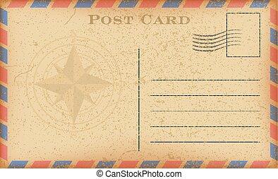 vecteur, vieux, postcard., carte postale, vendange, papier, compass., grunge