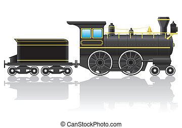 vecteur, vieux, retro, locomotive