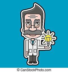vecteur, vieux, scientifique, conception, retro, dessin animé, icône