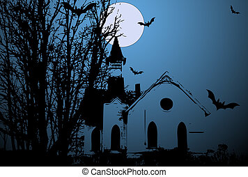 vecteur, vieux, terrifiant, église