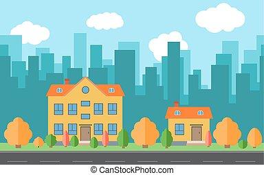 vecteur, ville, à, deux, dessin animé, maisons, et, bâtiments, à, arbres arbrisseaux