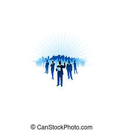 vecteur, ville, ai8, homme affaires, fond, femme affaires, fichier, compatible, horizon, origianl, illustration:, internet