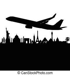 vecteur, ville, avion, noir, au-dessus