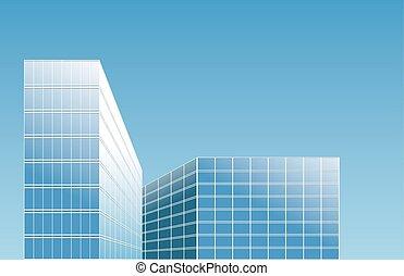 vecteur, ville, bâtiments, moderne, -
