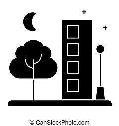 vecteur, ville, fond, icône, isolé, signe, illustration
