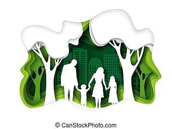 vecteur, ville, marche, coupure, famille, eco, illustration, parc, papier, vert