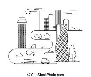 vecteur, ville, style, graphique, nuages, linéaire, -, bâtiments, illustration, template., coloration, conception, livre