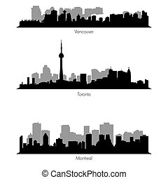 vecteur, villes, collection, canadien, ef, horizons