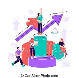 vecteur, virtuel, aide, illustration, business
