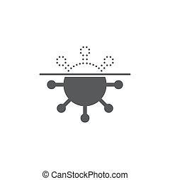 vecteur, virus, blanc, symbole, isolé, anti, scanner, fond, icône, protection