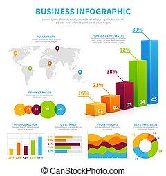 vecteur, visualisation, concept, financier, diagrams., business, trace établissez graphique, infographic, gabarit, données, 3d