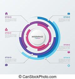vecteur, visualization., diagramme, infographic, gabarit, cercle, données
