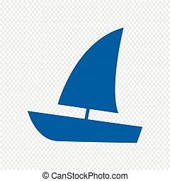 vecteur, voilier, illustration, icône