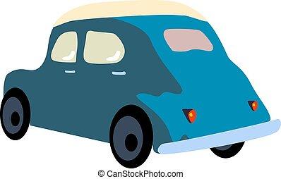 vecteur, voiture bleue, blanc, arrière-plan., illustration