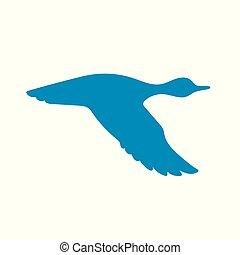 vecteur, voler, silhouette, canard