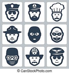 vecteur, voleur, police, icônes, profession, garde forestier, capitaine, officier, chirurgien, chef cuistot, anti-terrorist, pompier, set:, pilote