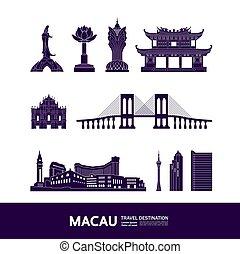 vecteur, voyage, macau, illustration., destination, ...