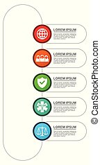 vecteur, voyage, présentation, 5, options, graphique, gabarit, diagramme, infographic, diagramme, healthcare, business, droit & loi, concept