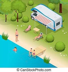 vecteur, voyage vacances, plat, camping, campeur, 3d, famille, isométrique, voyage, vacances, camping car, motorhome, illustration.