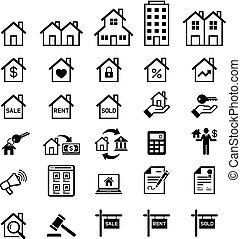 vecteur, vrai, illustrations., propriété, icons.