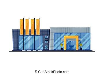 vecteur, vue, magasin, moderne, élément, devant, vente au détail, architecture, achats, illustration, bâtiment, centre, plat, conception urbaine