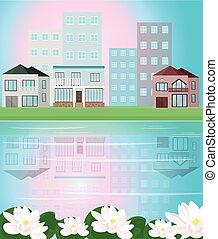 vecteur, vue, reflet, illustration, village