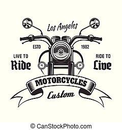 vecteur, vue, vendange, emblème, devant, motocyclette
