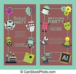 vecteur, welcome., ensemble, illustration., technology., onduler, ami, chien, artificiel, robot, anniversaire, conception, celebration., robotique, intelligence, fête, bannières, futuriste, gosse