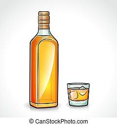 vecteur, whisky, bouteille, verre