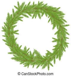 vecteur, wreath., noël, illustration