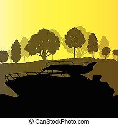 vecteur, yacht, bateau, fond