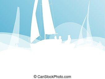 vecteur, yacht, voile, course